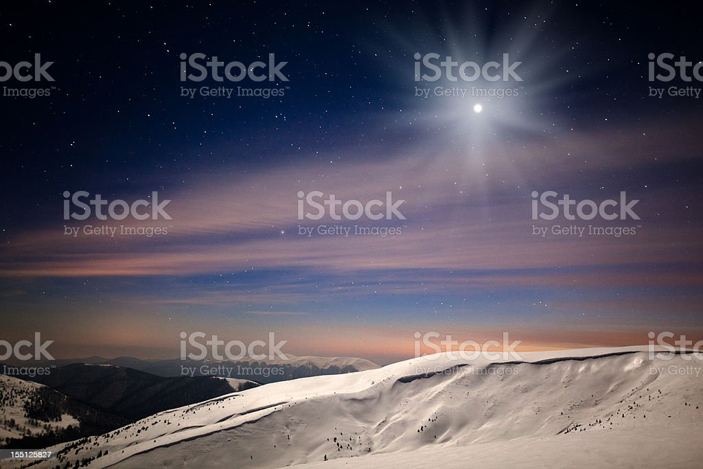 Winter starry sky royalty-free stock photo