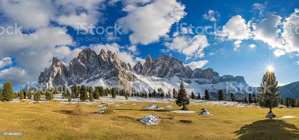 Winter  starting at Geisler Park - South Tirol XXXL Panorama stock photo