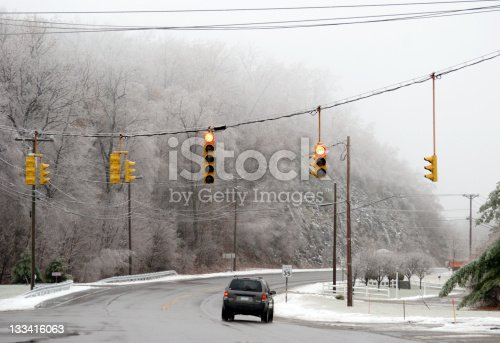 Driving condition on icy ground through snowy and foggy winter wonderland.