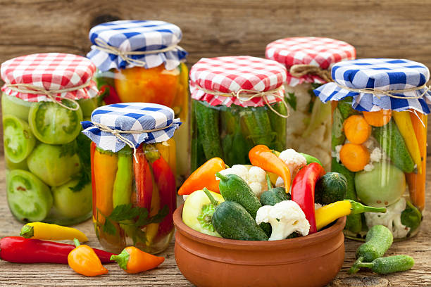 Winter store Winter stores, vegetables in jars fermenting stock pictures, royalty-free photos & images