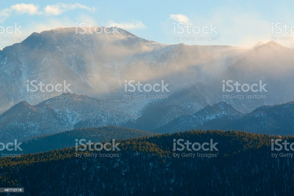 Winter Storm and Wind on Pikes Peak Colorado stock photo