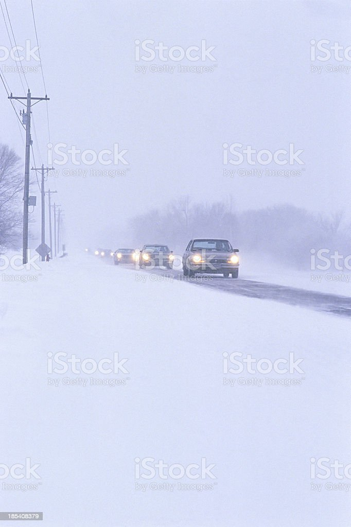winter storm driving royalty-free stock photo