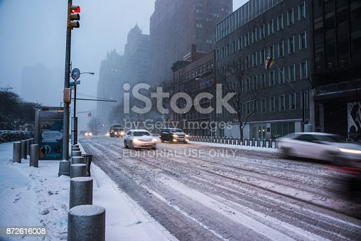 istock Winter storm Niko hits New York City. First Avenue covered with snow, in front of the United Nations building, in Midtown, Manhattan. 872616008