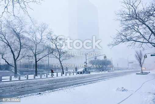 istock Winter storm Niko hits New York City. First Avenue covered with snow, in front of the United Nations building, in Midtown, Manhattan. 872618300