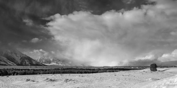 Winter storm on the Teton plain stock photo