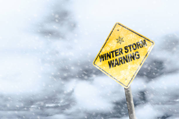 winter storm warning sign with snowfall and stormy background - inverno imagens e fotografias de stock