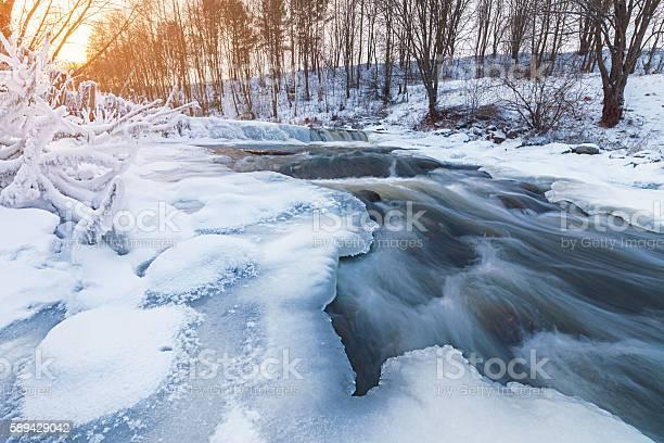 Photo of Winter stream at sunset