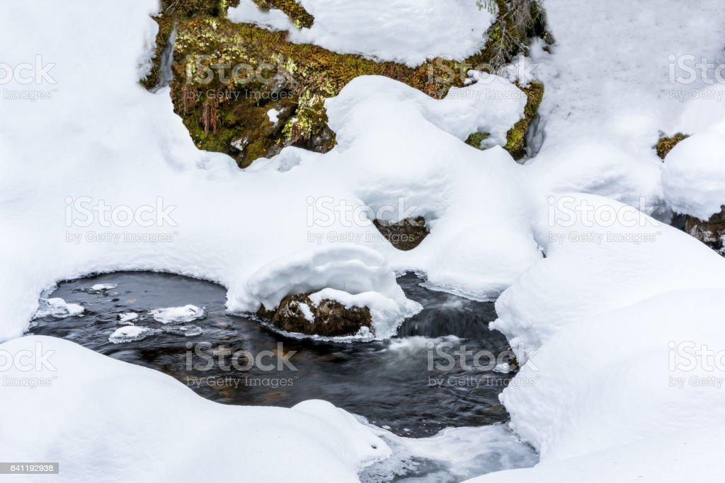 Winter stream with deep snow and water flows underneath. Early spring with melting snow. royalty-free stock photo