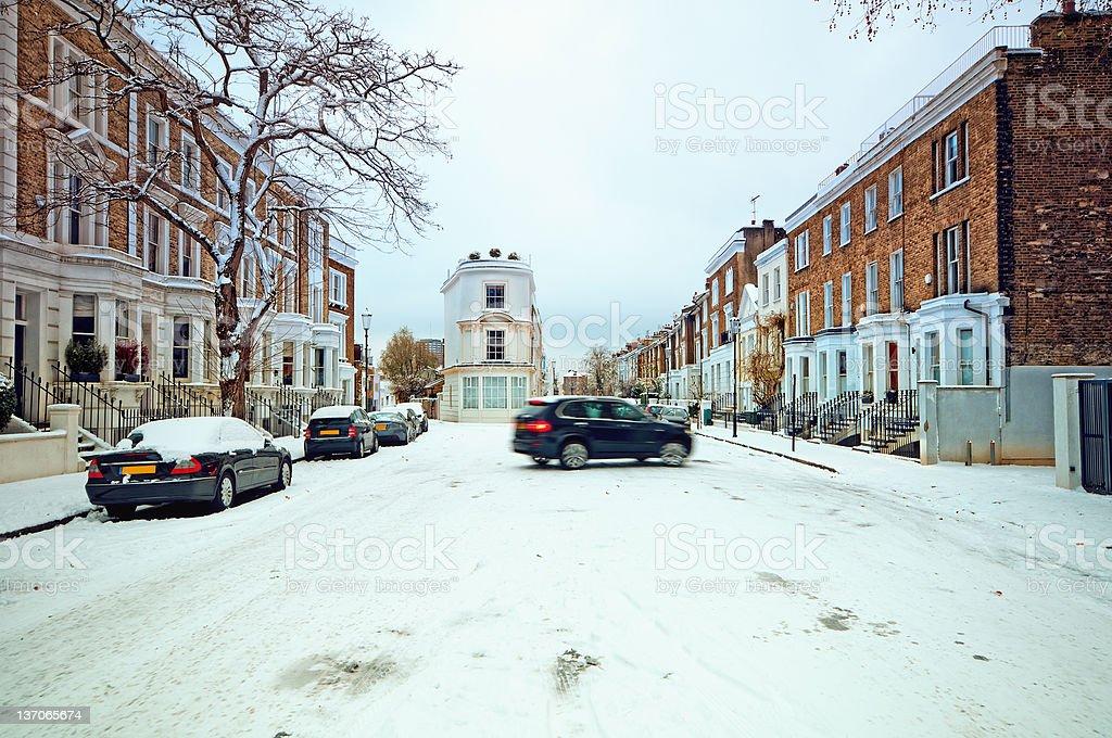 Winter street in Notting Hill, London stock photo