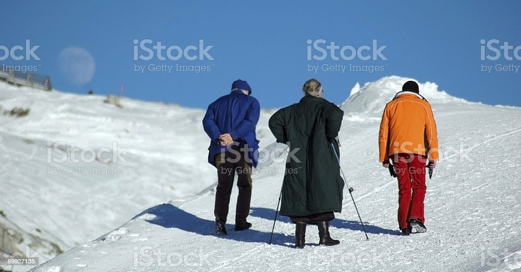 Winter stroll in Allgau Alps stock photo
