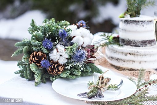 Winter style wedding cake. Rustic style.  wedding in winter. Wedding decor, cake, glasses, champagne, plates. Rustic wedding in winter. cake