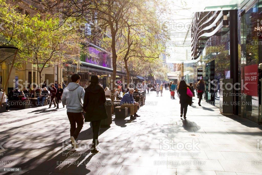 Winter sun on Pitt Street Sydney Australia stock photo