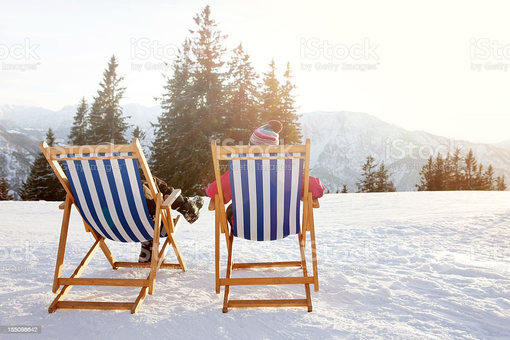 Winter Sun therapy heliotherapy royalty-free stock photo