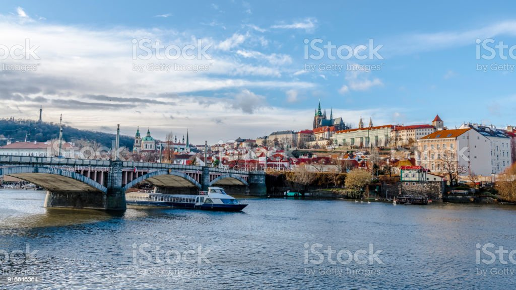 Winter Sunny day on the banks of the Vltava river stock photo