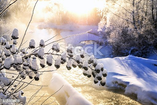 istock Winter sunny landscape with river and forest 618869556
