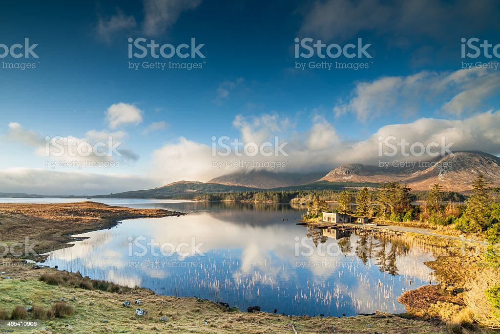 Winter Sunrise in Connemara, Ireland stock photo