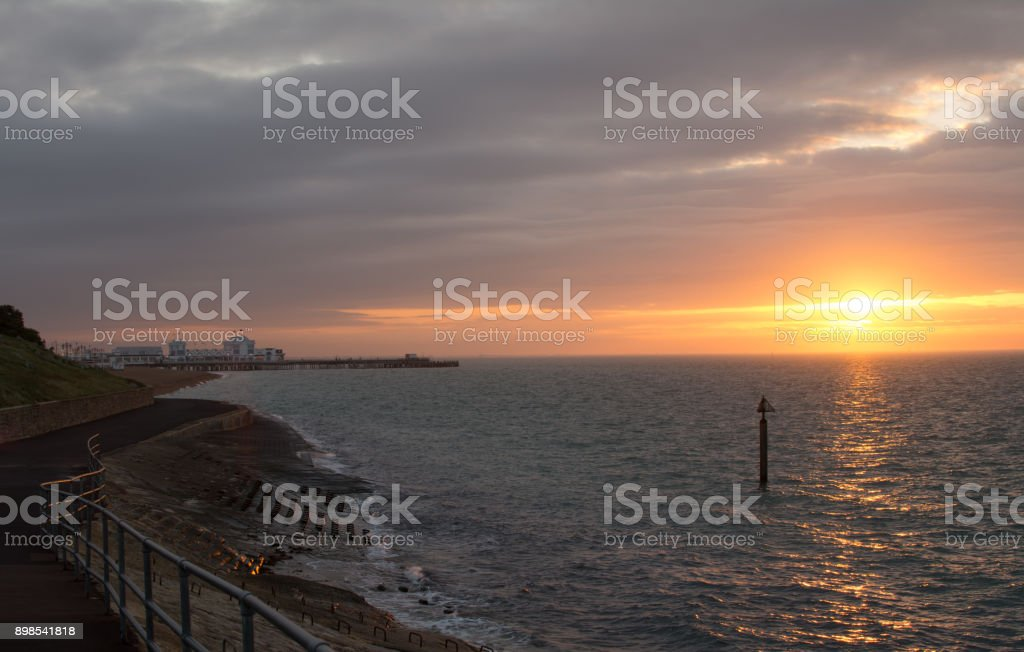 Winter Sunrise in Portsmouth stock photo