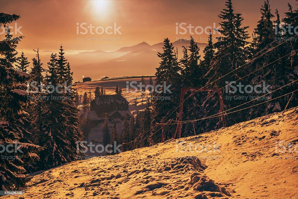 winter sunrise in the Carpathian mountains stock photo