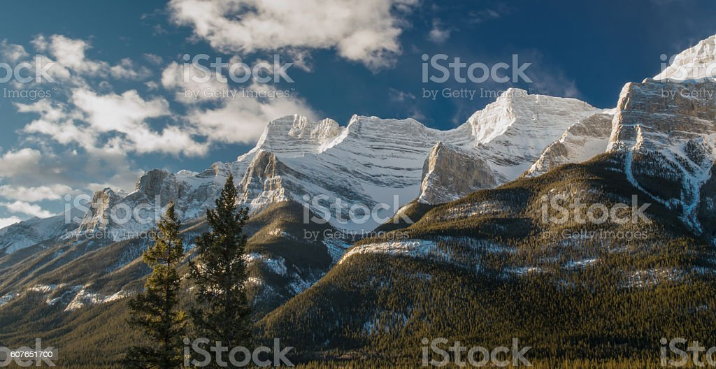 Winter Sunrise on Mount Rundle Canada stock photo