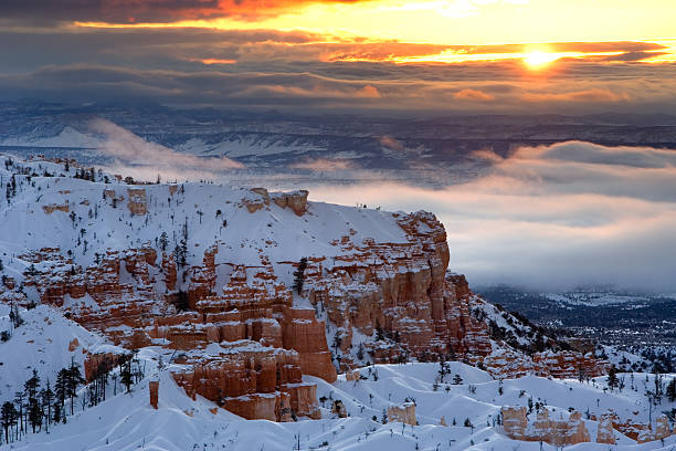 winter sunrise over bryce canyon national park. - bryce canyon national park stockfoto's en -beelden