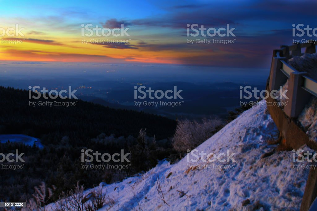 Winter sunrise over Liberec, viewed from  Jested mountain stock photo