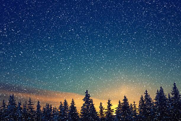 winter-sonnenaufgang - schneeflocke sonnenaufgang stock-fotos und bilder