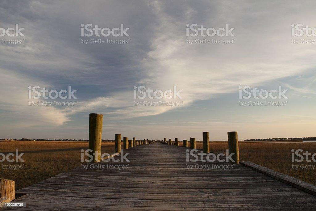 Winter sunset at South Carolina pier stock photo