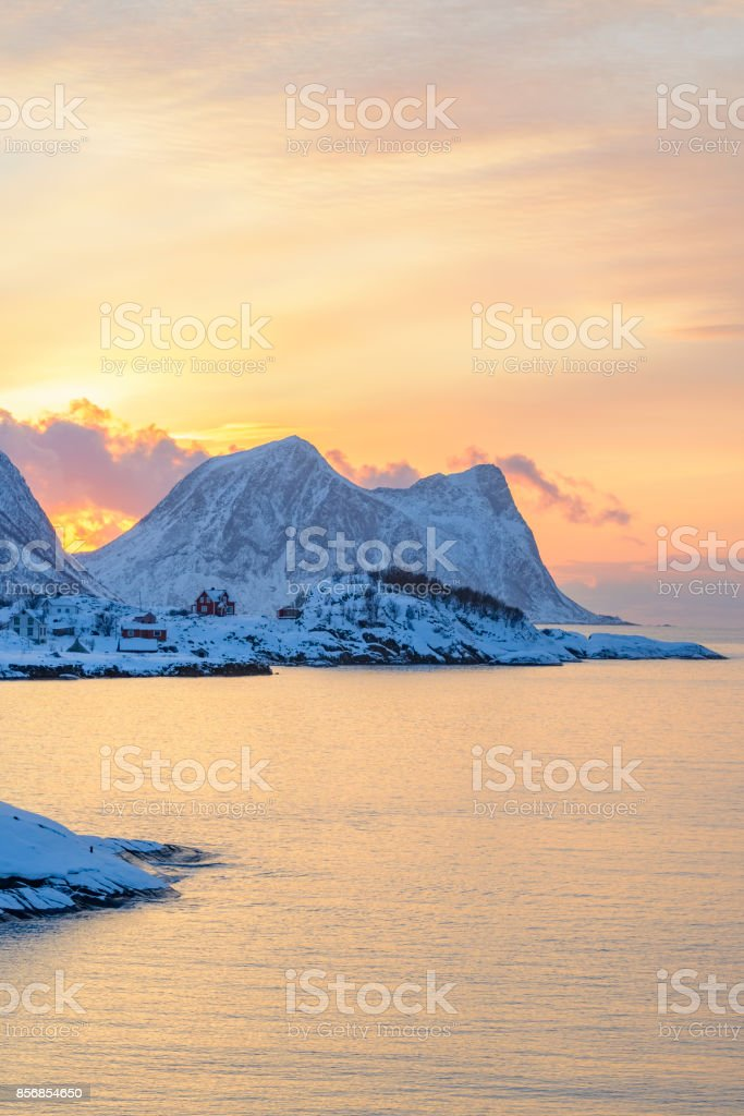 Winter sunset at the Norwegian Sea in Northern Norway stock photo
