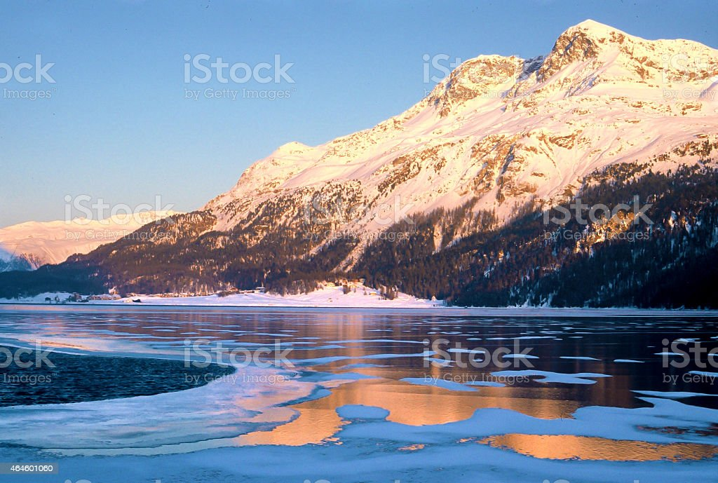 Winter sunset in Engadin, Switzerland stock photo
