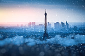 View on Eiffel Tower on a snowy winter evening (Paris, France).