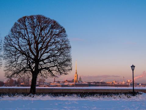 Winter sunset in St. Petersburg, Russia
