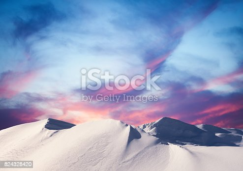 istock Winter Sunset In The Mountains 824328420