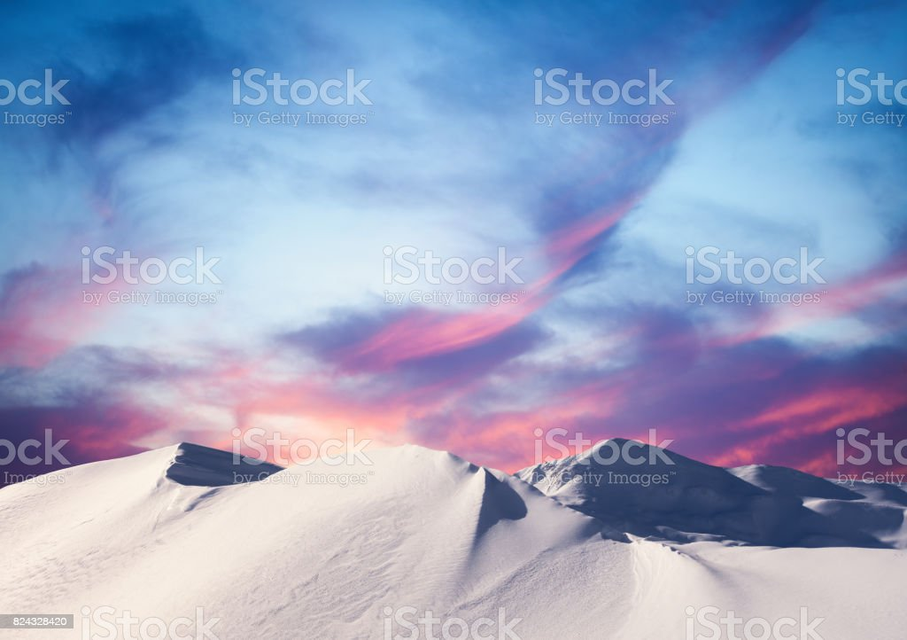 Winter Sunset In The Mountains stock photo