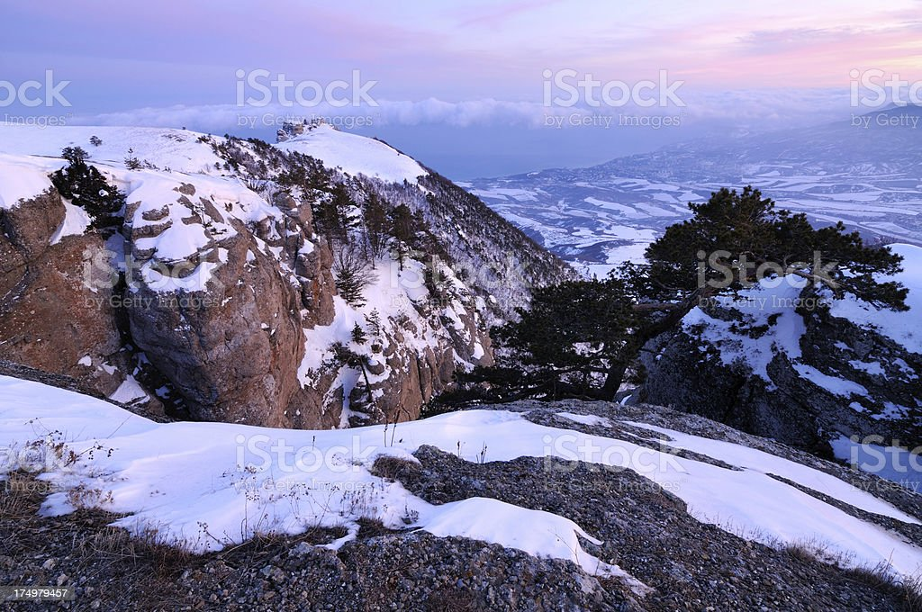 Winter sunset in the rocky mountains royalty-free stock photo