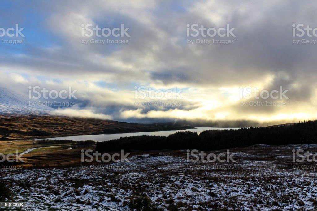 Winter Sunset of the Papas of Jura stock photo