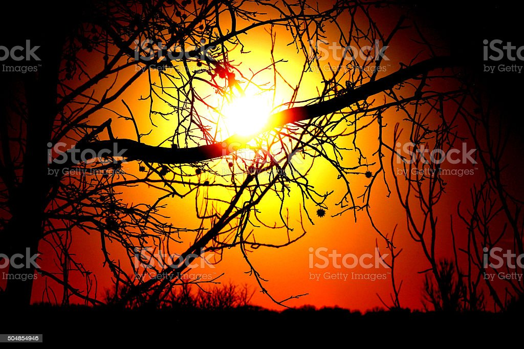 Winter Sunset stock photo