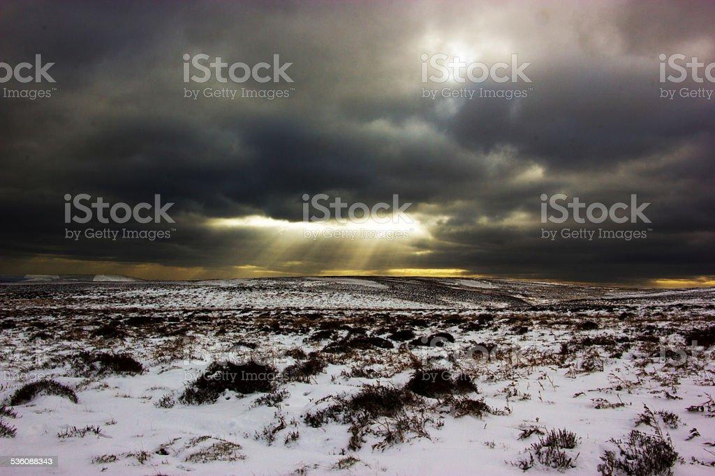winter sunset. stock photo