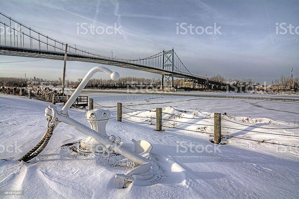 Winter Suspension Bridge stock photo