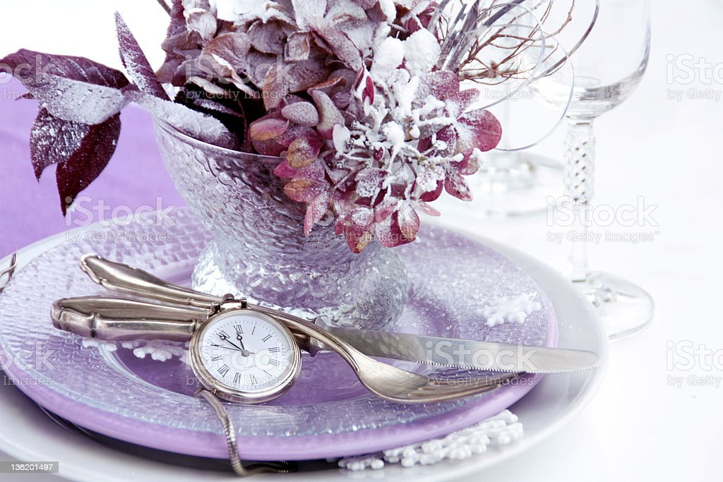 Winter table setting royalty-free stock photo