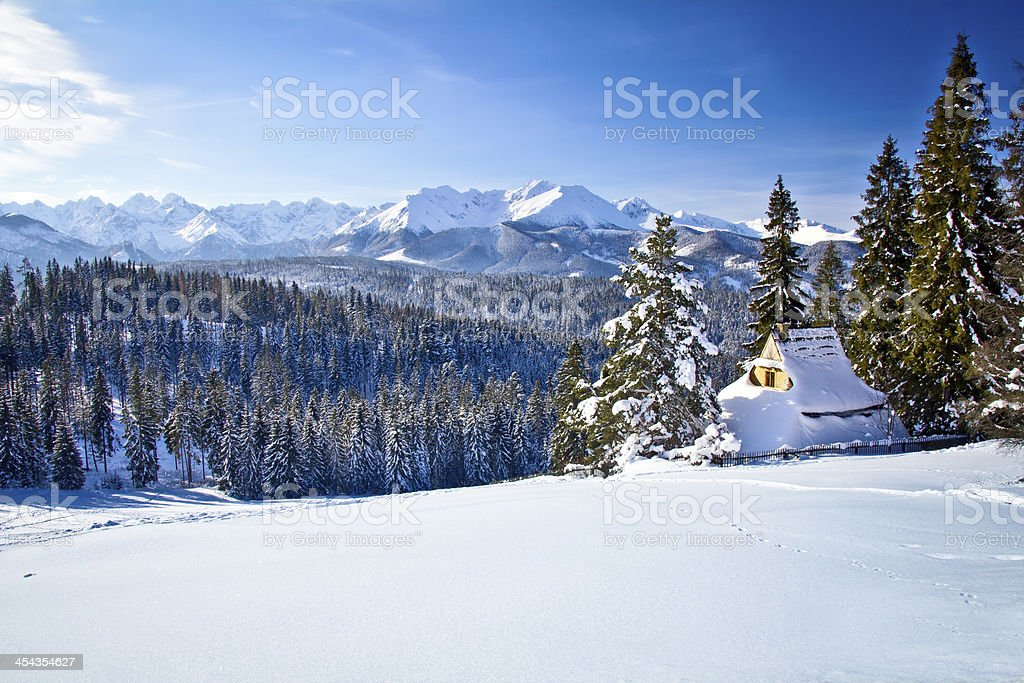 Winter Tatra mountains landscape stock photo