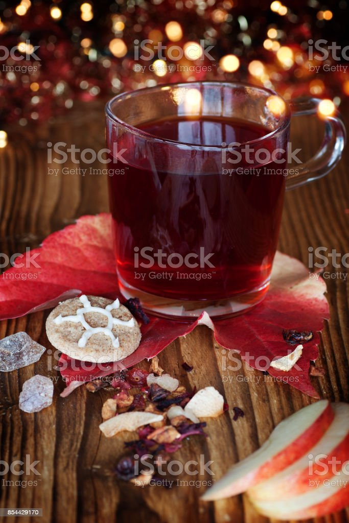 Mulled Wine Christmas Market.Winter Tea Or Mulled Wine On A Christmas Market Stock Photo