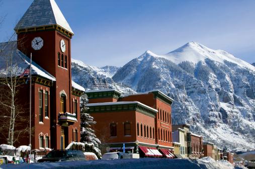 Ajax peak and Telluride Colorado main street winter