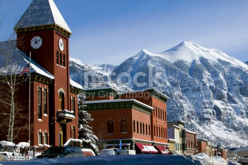 Ajax peak and Telluride Colorado main street winter