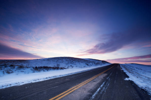 Winter Time Highway 363 Just Out Side Of Moose Jaw Saskatchewan Canada stock photo