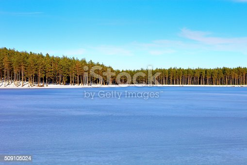 Winter time in forest lake. Evergreen wood and shore in snow