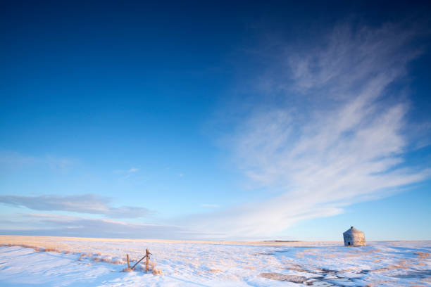 Winter Time Off Of Highway 363 Just Out Side Of Moose Jaw Saskatchewan Canada stock photo