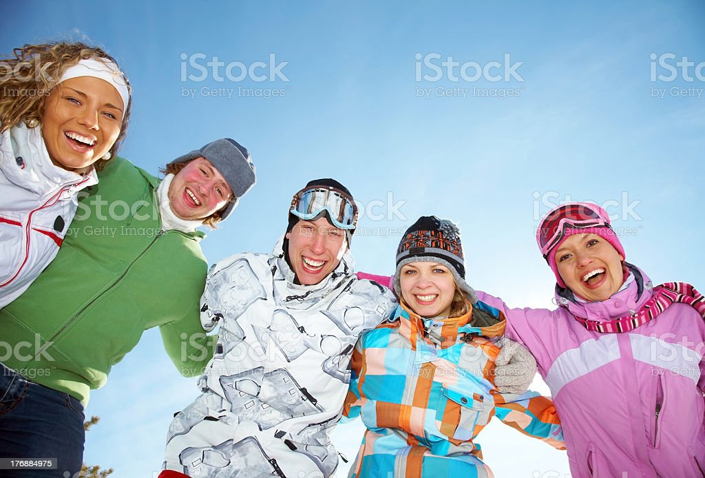 Winter time with friends in coats royalty-free stock photo