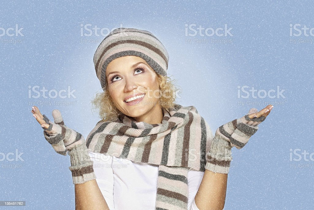 Winter time with snowfall for the Happy New Year royalty-free stock photo