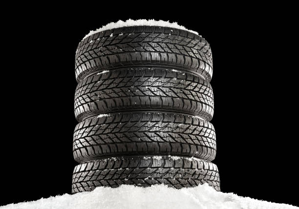 winter tire set - snow pile stock photos and pictures