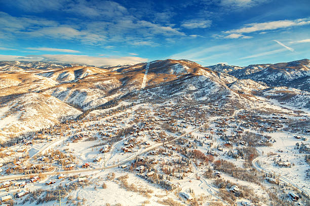 Winter town from midair Steamboat springs, colorado town from a hot air ballon midair. steamboat springs stock pictures, royalty-free photos & images